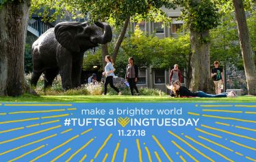 Campus in summer, with Tufts Giving Tuesday logo