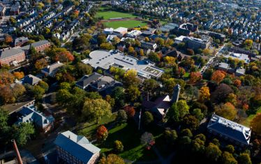 An aerial view of Tufts University's Medford/Somerville campus. Tufts is collaborating with The Haven at College to provide drug and alcohol treatment and recovery support services, and an on-campus recovery residence.
