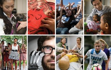 Collage of photos of students. Tufts Giving Tuesday is happening on December 3.