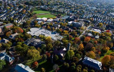 Aerial view of Tufts University campus in summertime. With the most diverse applicant pool in recent history, more than 23,000 apply to Tufts for the undergraduate Class of 2024