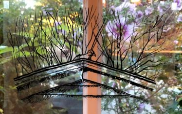 A line drawing of a bird on a roof overlaid on a window looking out on flowering yard. As the School of the Museum of Fine Arts at Tufts moved instruction online this spring, faculty and students improvised and kept creating