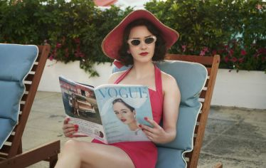 Rachel Brosnahan as Mrs. Maisel in the TV show, poolside, reading a Vogue magazine. Hollywood prop master Ryan Webb explains why getting all the paraphernalia in movies and TV shows just right is key to making the drama come alive.