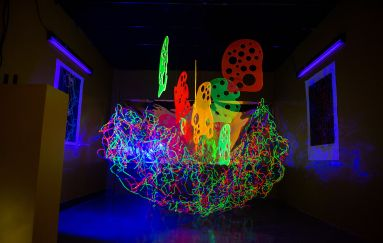 Glowing neon installation artwork