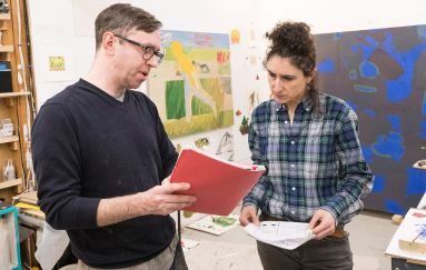 Graduate students at SMFA art studio