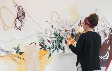Graduate student in painting studio