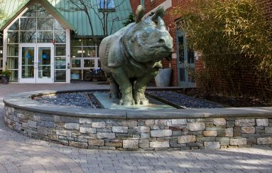 "image of SMFA entrance and mascot rhino ""Bessie"""