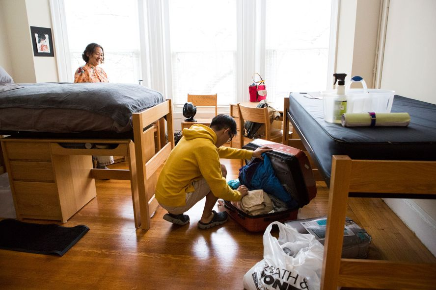 Students in a residential housing dorm